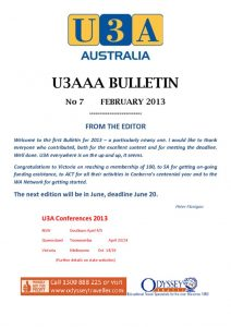 thumbnail of U3AAA BULLETIN No 7 _Feb_2013